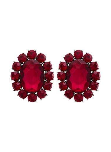 Ninon  Ninon Oval Scarlet & Fuchsia Kristal Küpe Kırmızı